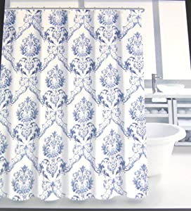 Tahari Home Chinoisserie Damask Medallion Scroll Shower Curtian Blue and White 72 x 72