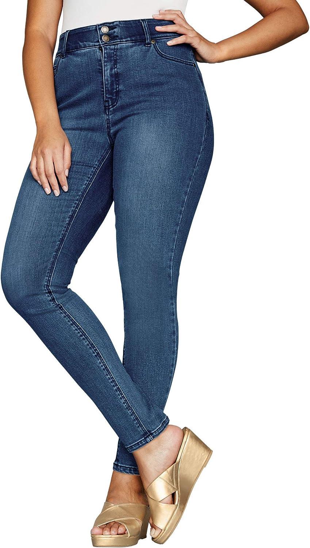Jessica London Womens Plus Size Tummy-Control Skinny Jeans