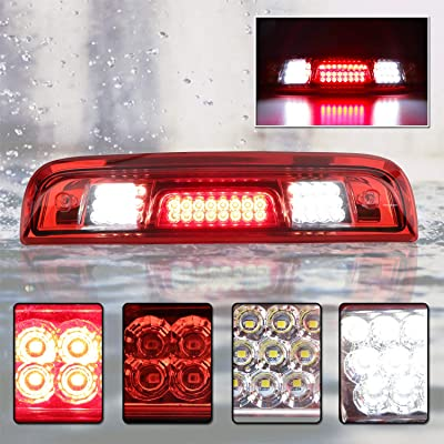 For 2014-2020 Chevy Silverado & GMC Sierra 1500 2500HD 3500HD Full LED Third Brake Cargo Light (Chrome Housing Red Lens): Automotive