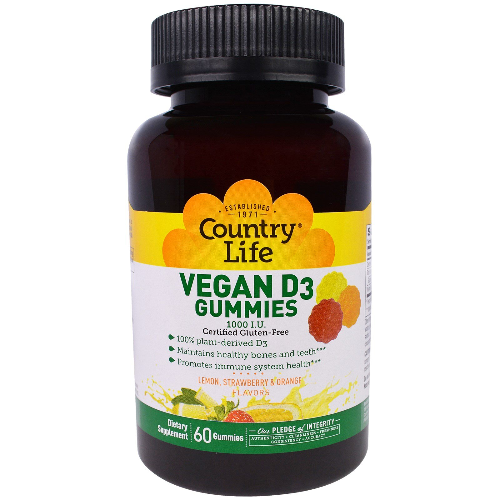 Country Life, Vegan D3 Gummies, Lemon, Strawberry & Orange Flavors, 1000 I.U, 60 Gummies