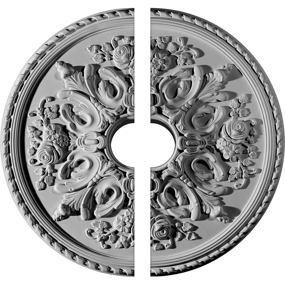 Ekena Millwork CM32BR2-06000 32 OD ID x 2'' P Bradford Ceiling Medallion, Two Piece (Fits Canopies up to 6 5/8''), Factory Primed White