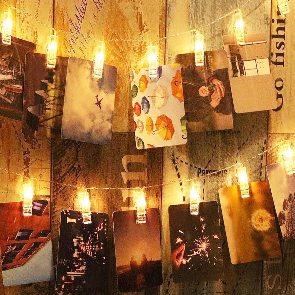 Eclairage D/écoration pour Chambre Salon Anniversaire Halloween 20 LED Clip Accrocher Photo Blanc Chaud 3,5M Aliment/é par Pile Ustellar Guirlande Lumineuse avec Pince /à Photo