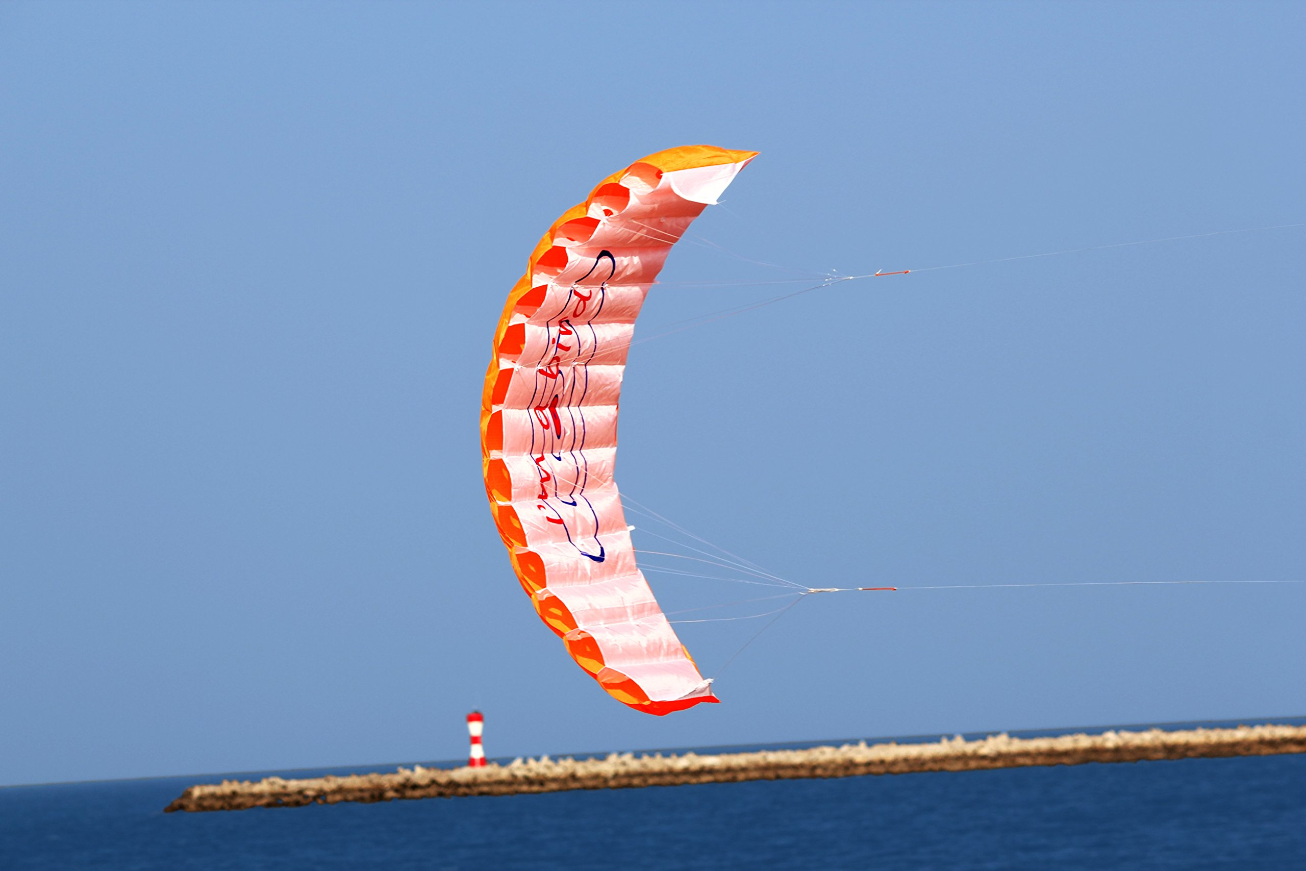 Hengda Kite NEW 1.4m Power Kite Outdoor FUN Toys Parafoil Parachute Dual Line Surfing ORANGE by Hengda kite (Image #6)
