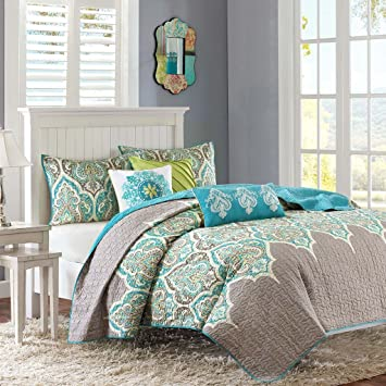 Good Madison Park MP13 1683 Nisha 6 Piece Quilted Coverlet Set, King/California  King