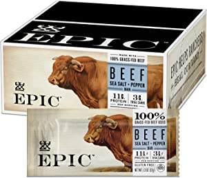 EPIC Beef Sea Salt + Pepper Protein Bar, Keto Consumer Friendly, 12CT 1.3oz bars