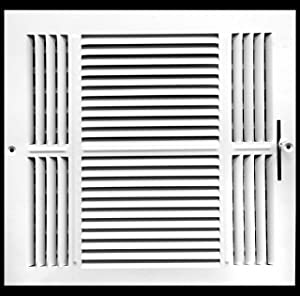 """14"""" X 14"""" 3-Way AIR Supply Grille - Vent Cover & Diffuser - Flat Stamped Face - White [Outer Dimensions: 15.75""""w X 15.75""""h]"""