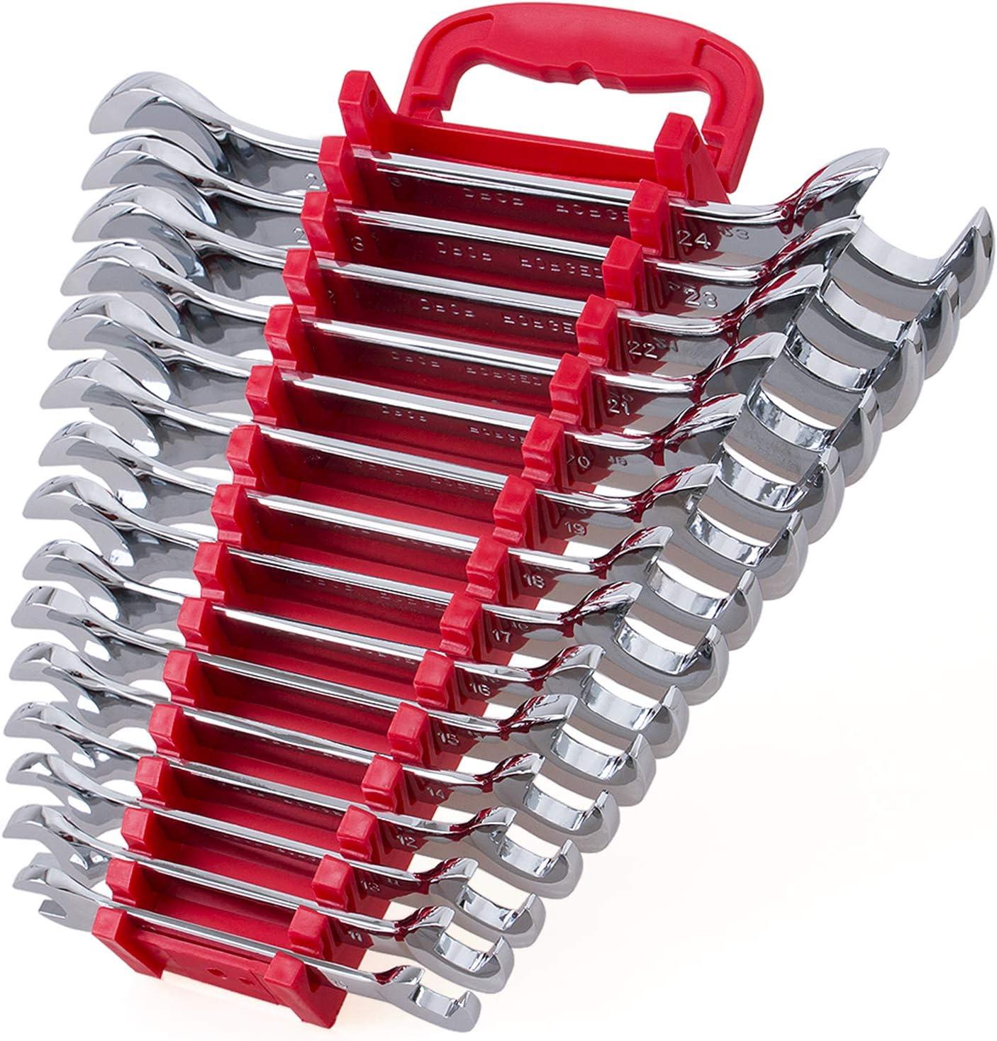 15 17 16 Include Metric Sizes 10 Chrome Vanadium Steel 20 13 11 14 Mirror Chrome Finish 24mm with Storage Rack 22 21 12 15-Piece Premium Angle Head Open End Wrench Set 23 19 18