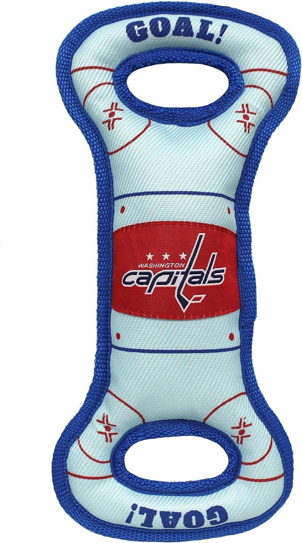 Pets First NHL Washington Capitals Hockey Field Dog Tug Fetch Squeak Chew Toy, Team Color, one Size (CAP-3030)