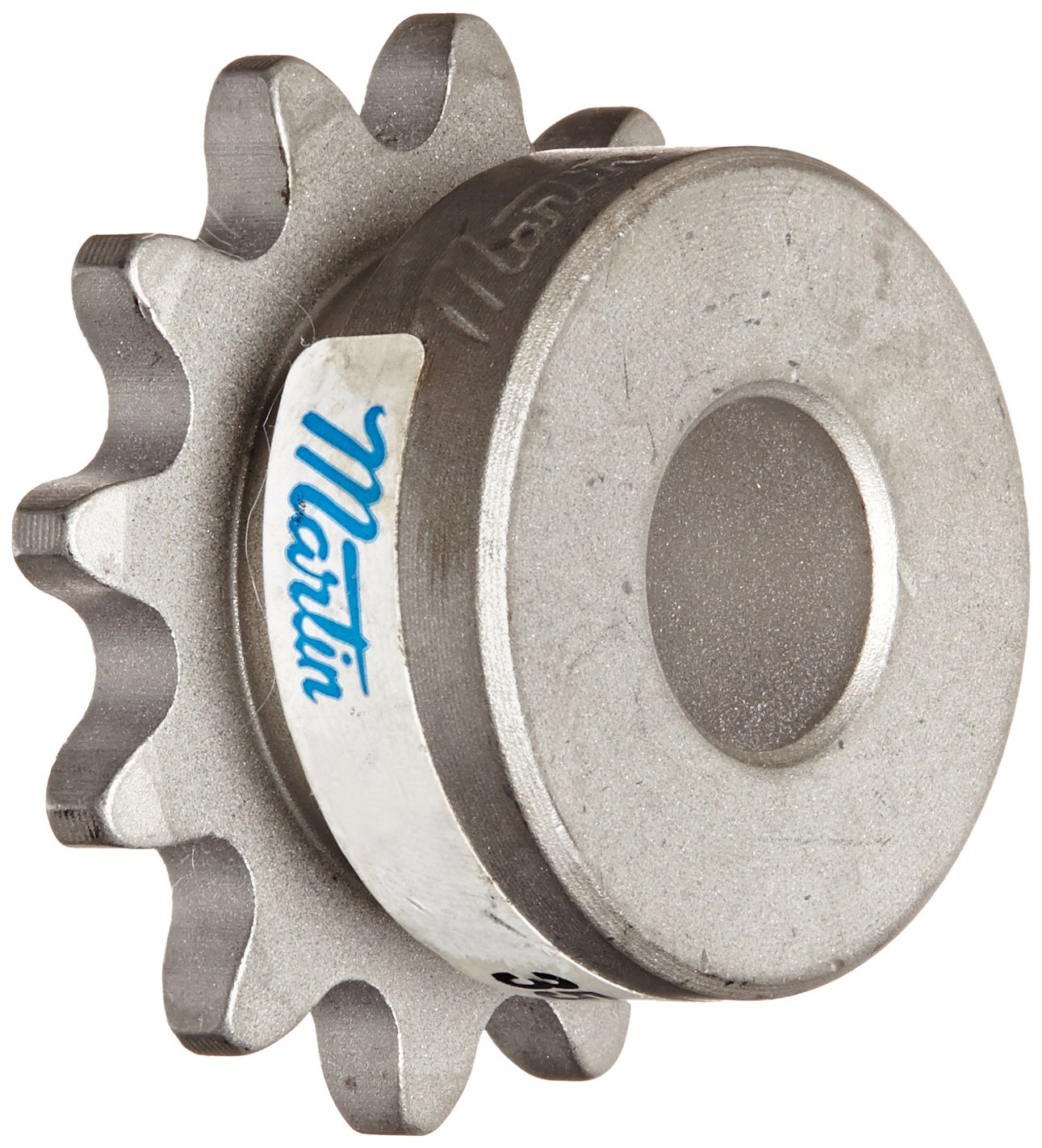 Martin Roller Chain Sprocket, Stainless Steel, Reboreable, Type B Hub, Single Strand, 35 Chain Size, 0.375'' Pitch, 12 Teeth, 0.5'' Bore Dia., 1.625'' OD, 1.219'' Hub Dia., 0.168'' Width