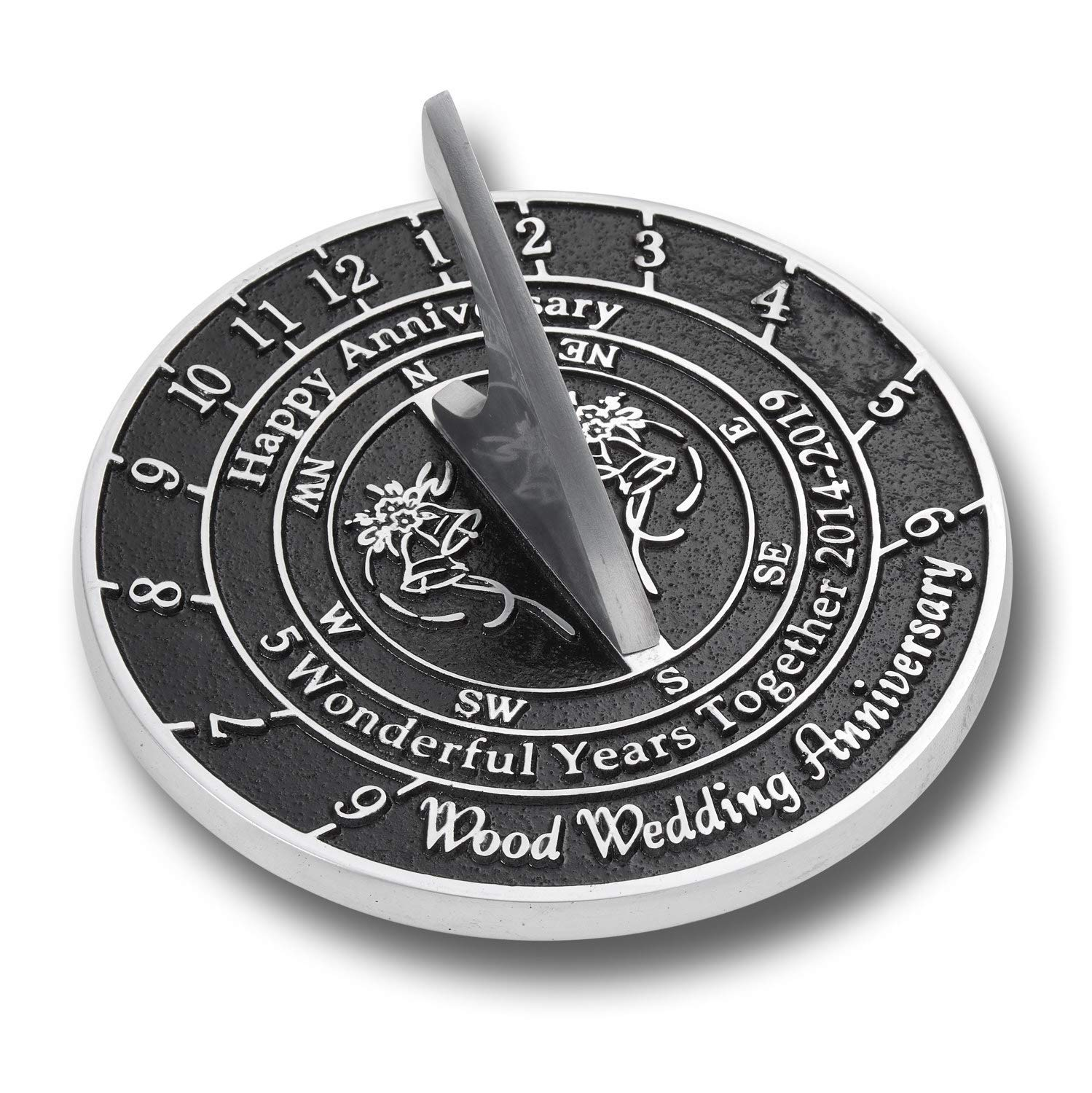 ANTIQUECOLLECTION 5th Wood Wedding Anniversary Sundial Gift
