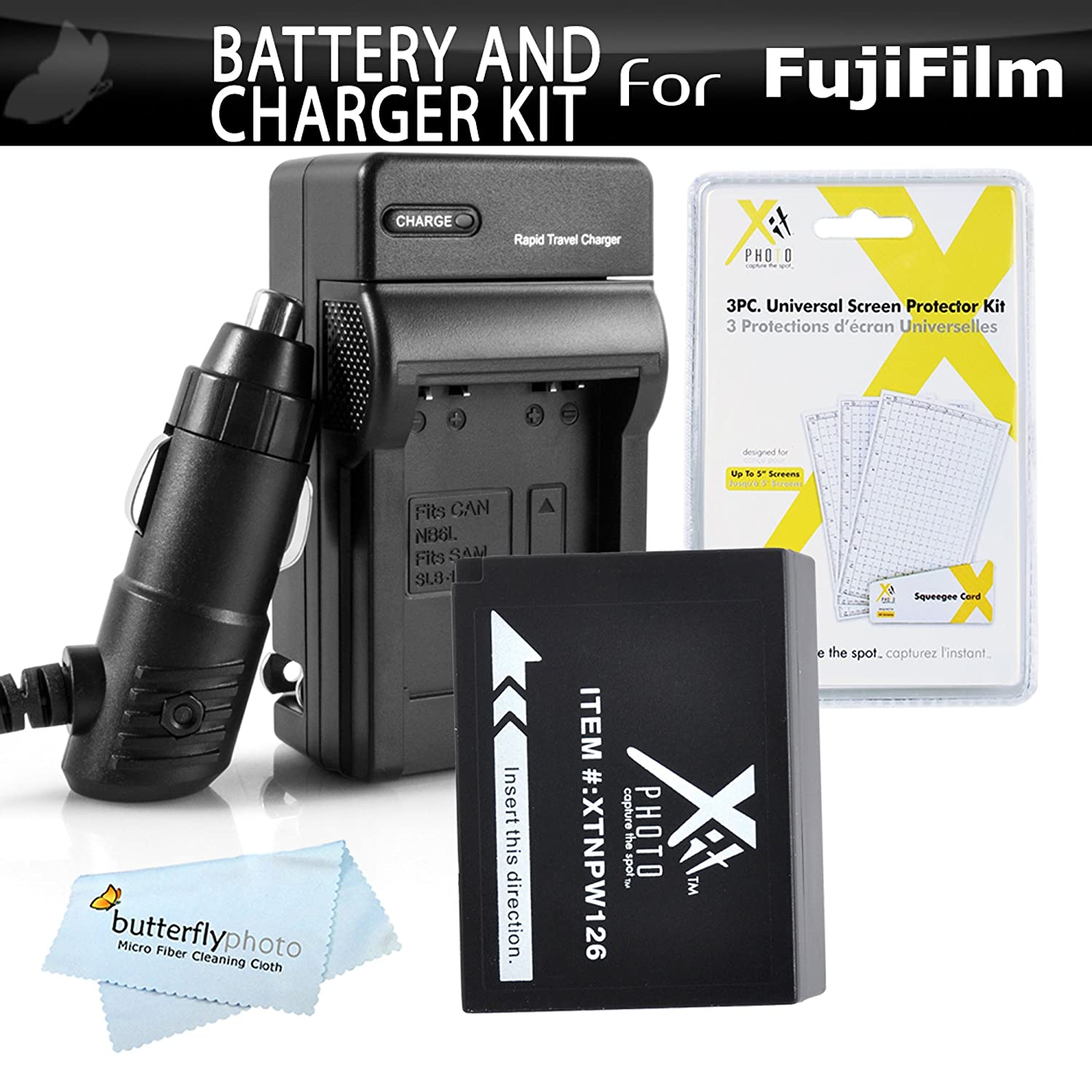 Battery And Charger Kit For Fuji Fujifilm Finepix Screen Guard Xt10 Hs30exr X Pro1 Pro2 A1 Hs33exr E1 E2 Hs50exr T1 A2 T10 A3 T2