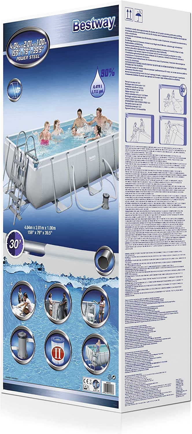 Bestway 56441 Juego de Piscina Rectangular Power Steel, Azul, 4.04 ...