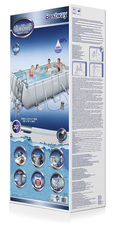Bestway 32562 Kit Piscine Tubulaire Bleu 404 X 201 X 100 Cm Amazon