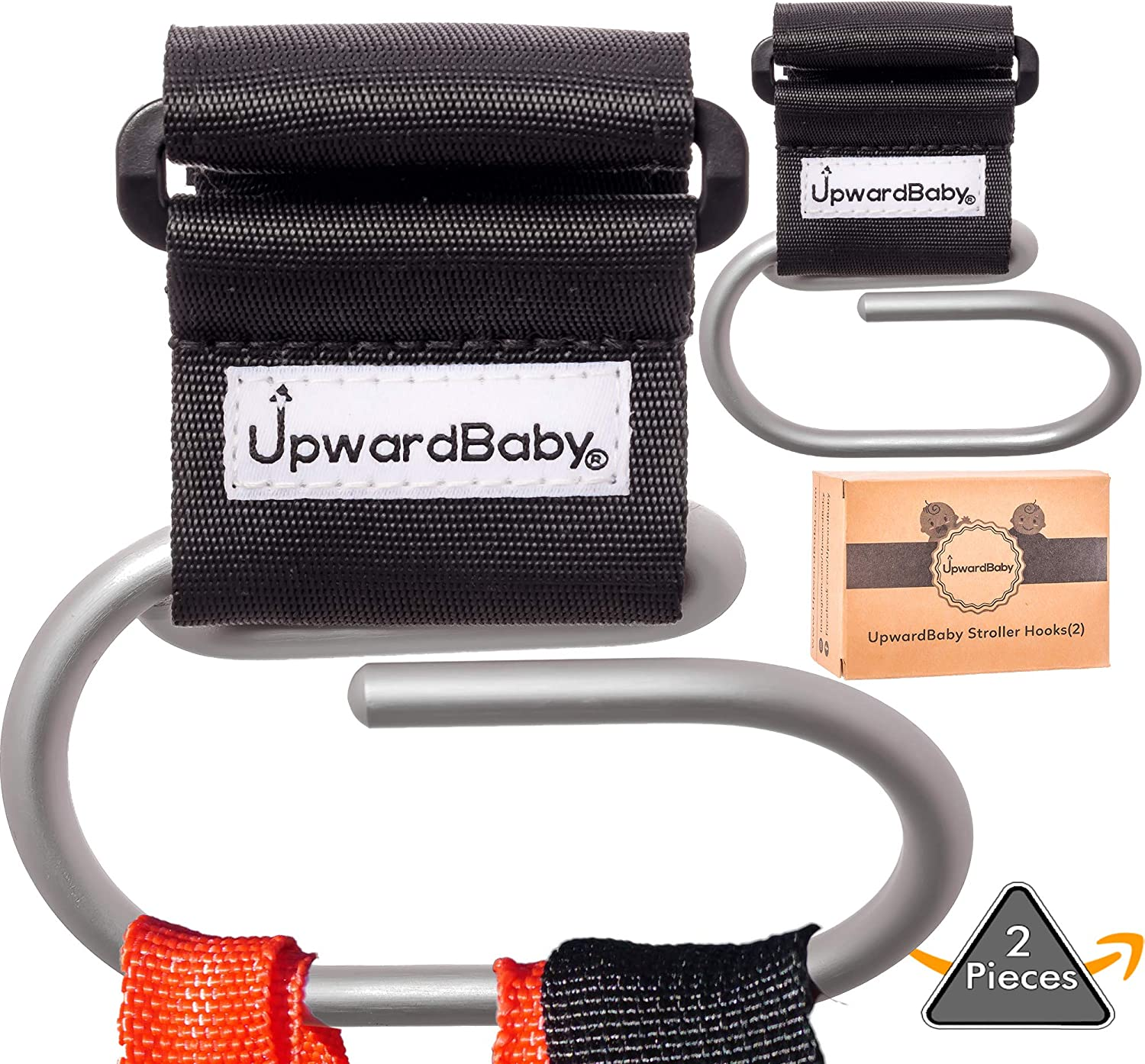 Stroller Hooks - Extra Security Holds 40lbs - UpwardBaby 2 Pack Baby Universal Heavy Duty Clip for Purses Grocery Shopping Diaper Bags Backpacks - Perfect Wheelchairs Accessories - Video demonstration