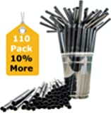 Sugarman Creations Straws Heavy Duty Disposable Plastic WITH FLEX Straw, 8.66 X 0.31, Classic Black, Pack of 110