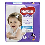HUGGIES LITTLE MOVERS Diapers, Size 5 (27+ lb.), 21 Ct., JUMBO PACK (Packaging May Vary), Baby Diapers for Active Babies