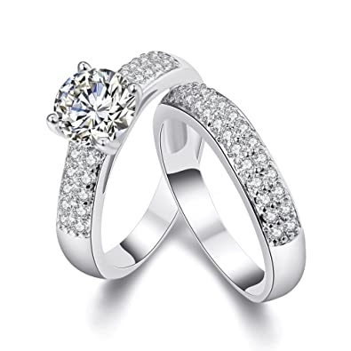 Round Brilliant Cubic Zirconia 18KGP Gold/White Gold Plated Wedding Engagement Ring Band Set Sizes