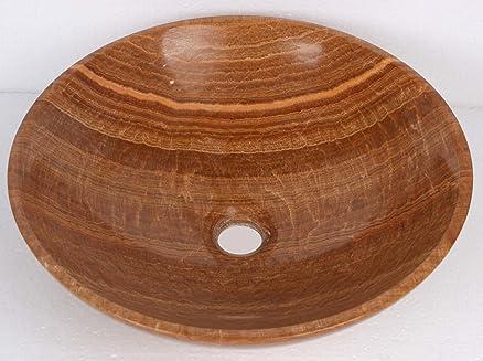 Colore: giallo con pietra marmo-Ciotola rotonda in legno, per ...