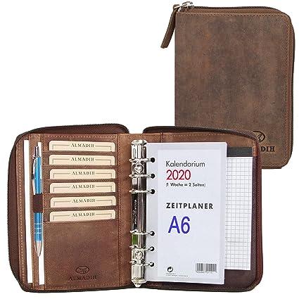 ALMADIH Carpeta de cuero A6 con cremallera Calendario 2020 + Bloc notas agenda Personal Organizador Diario Cartera de conferencias Maletin Carpeta de ...