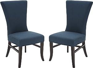 "Amazon Brand – Stone & Beam Reinhart Classic Upholstered Dining Chair, 39""H, Set of 2, Cadet Blue"