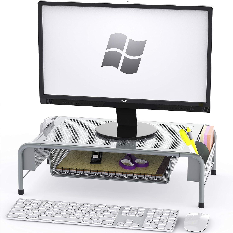 Soporte para monitor de escritorio con cajón organizador