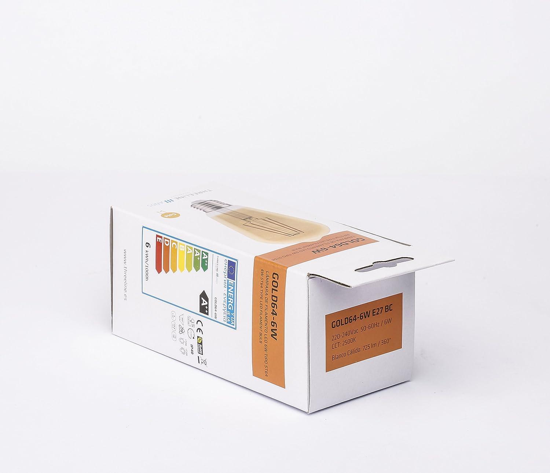 THREELINE Lampe LED E27 6/W 13.8/x 6.4/x 6.4/cm blanc chaud