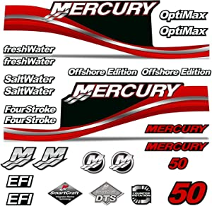 AMR Racing Outboard Engine Motor Sticker Decal Graphics kit for Mercury 50 - Red