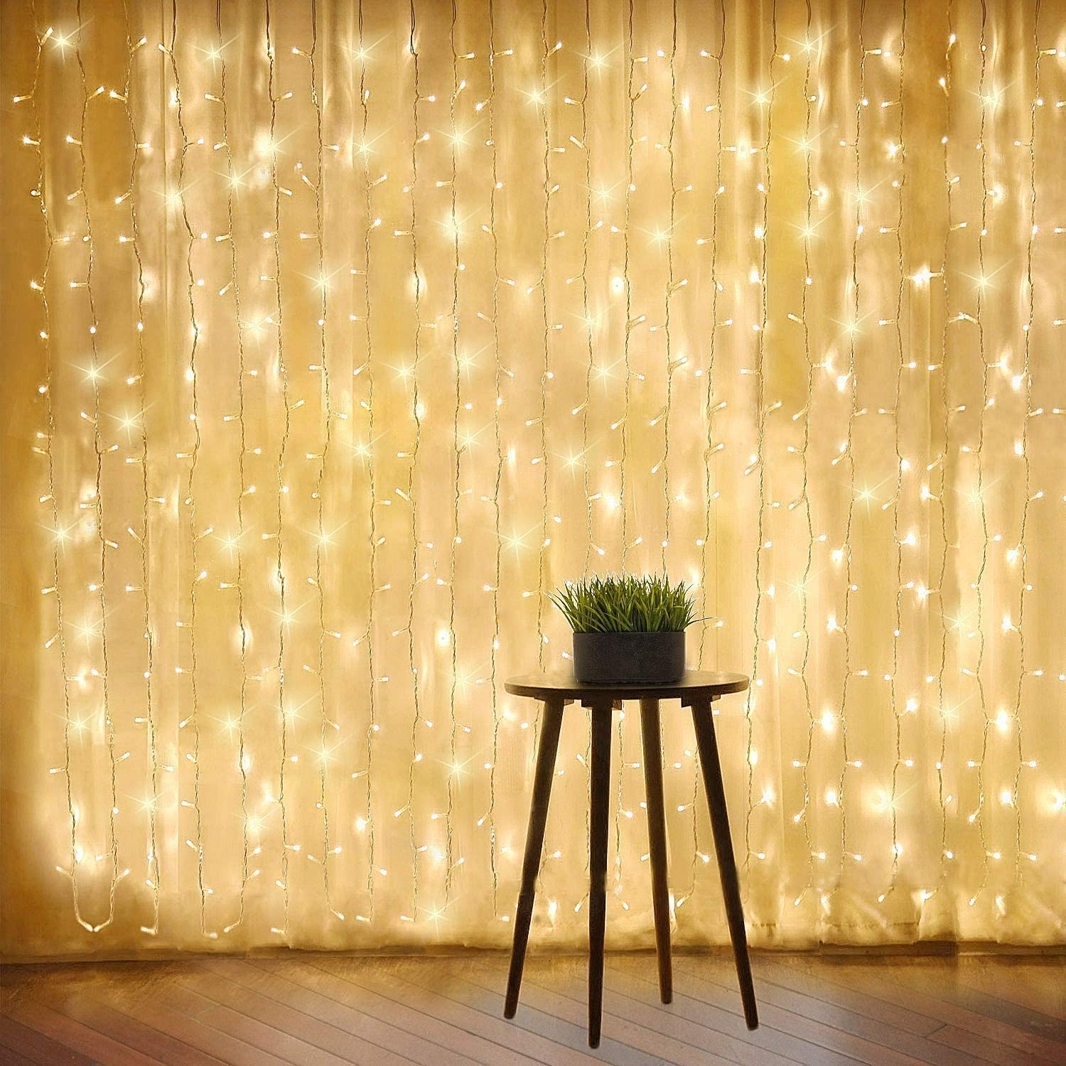 Warm White Window Curtain Lights, 8 Mode LED Fariy String Lights for Party Garden Room Wall Decorations