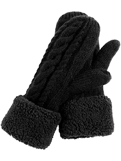 e64900fd0 Pangda Women's Winter Full Finger Gloves Plush Lining Knitted Mittens  Double-layer Thick Gloves for
