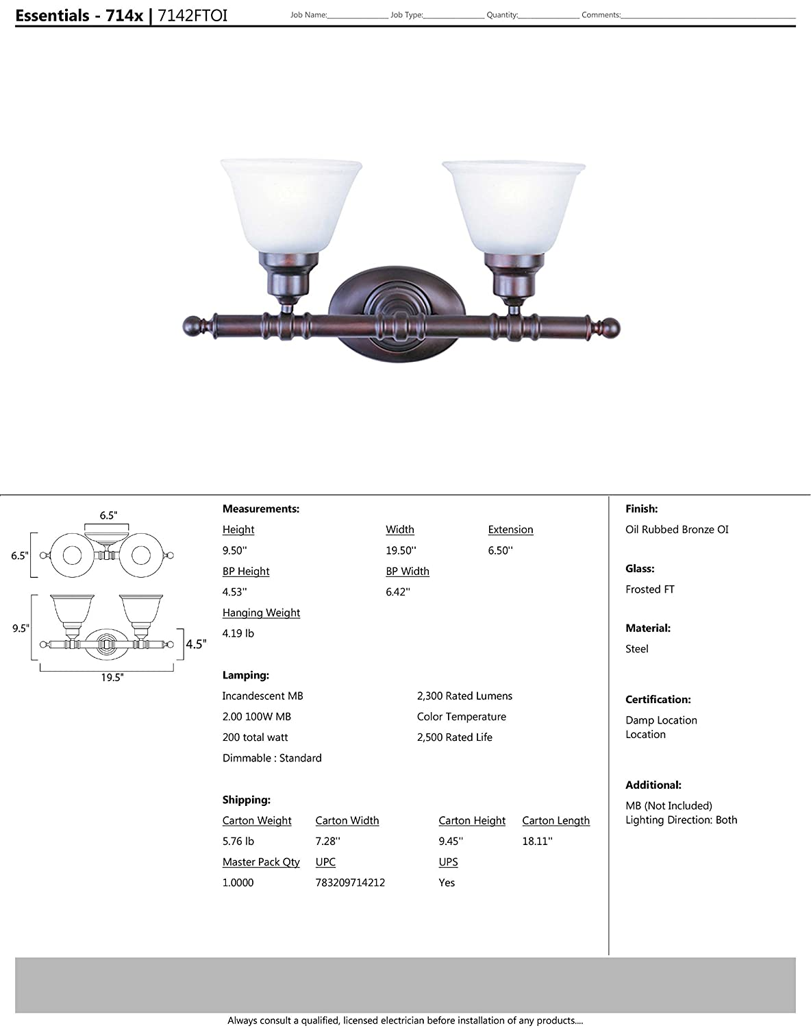 Frosted Glass MB Incandescent Incandescent Bulb Imitation Silk Shade Material Standard Dimmable Rated Lumens Dry Safety Rating 60W Max. Maxim 7142FTOI Essentials 2-Light Bath Vanity Wall Sconce Oil Rubbed Bronze Finish