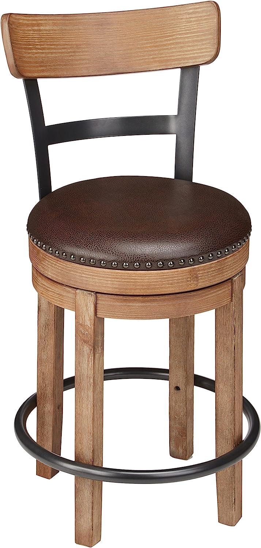 Ashley Furniture Signature Design – Pinnadel Swivel Barstool – Counter Height – Brown