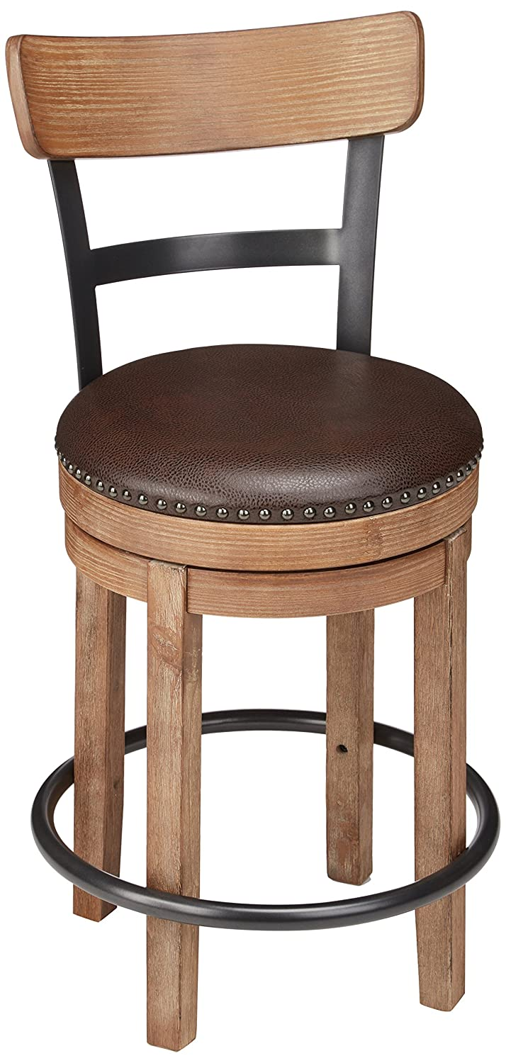 Ashley Furniture Signature Design - Pinnadel Swivel Barstool - Counter Height - Brown