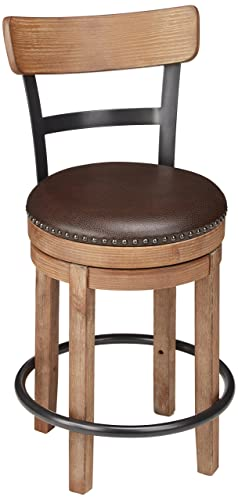 Ashley Furniture Signature Design – Pinnadel Swivel Barstool – Counter Height – Brown