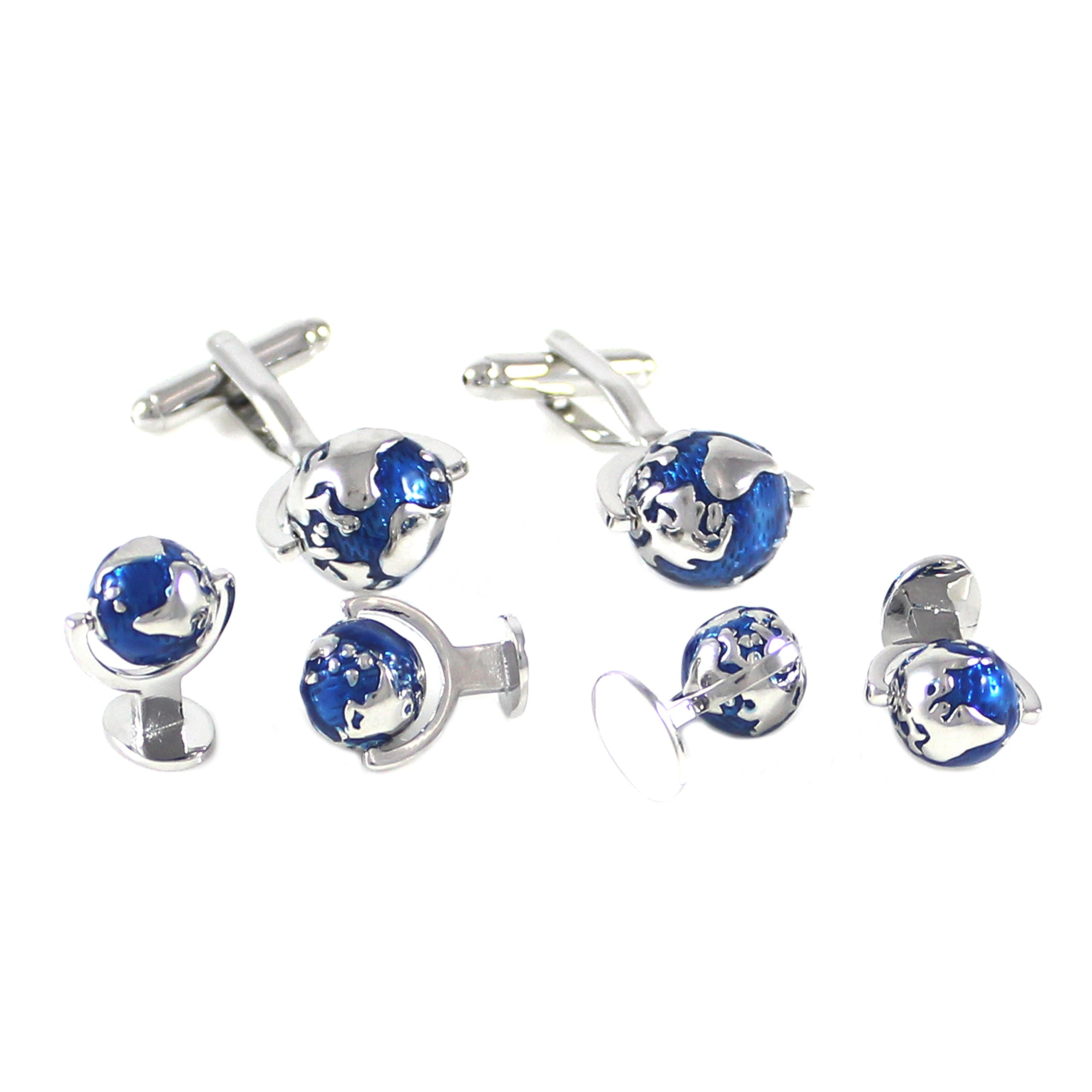 MENDEPOT Classic Rhodium Plated Blue And Silver Globe Cuff Link And Shirt Studs Formal Wear Set With Box Earth Planet Suit Set