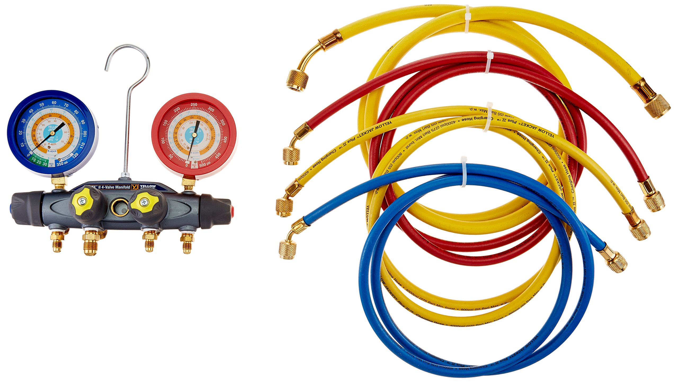 Yellow Jacket 46038 Brute II Test and Charging Manifold, F/C, Liquid Gauge, psi, R-134A/404A/407C