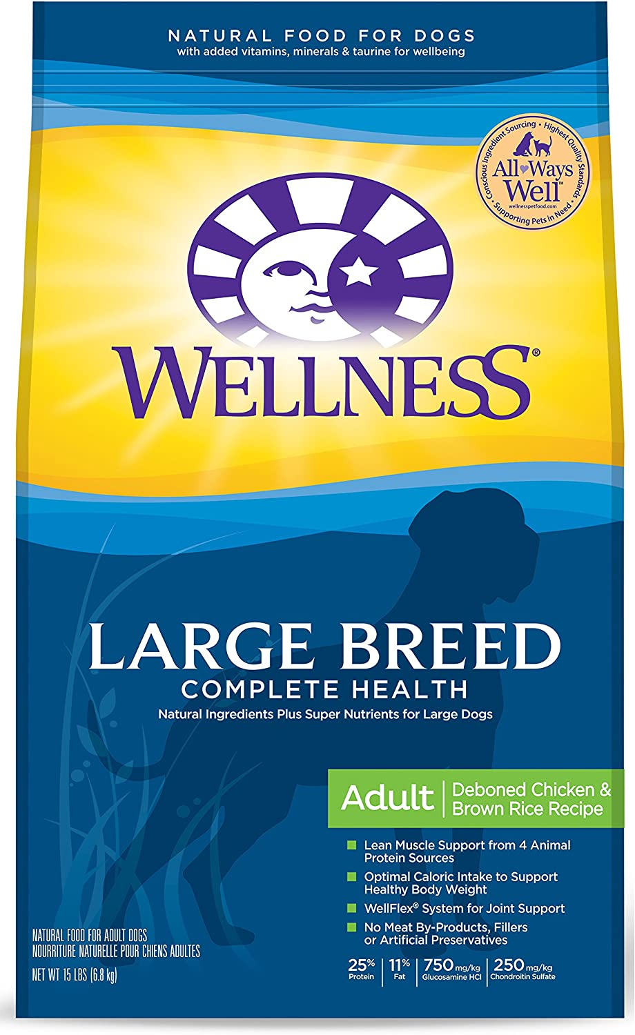 Wellness Complete Health Natural Dry Large Breed Dog Food, Chicken Rice, 15-Pound Bag