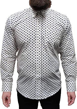 Relco - Camisa de hombre negra a lunares blancos diseño vintage.