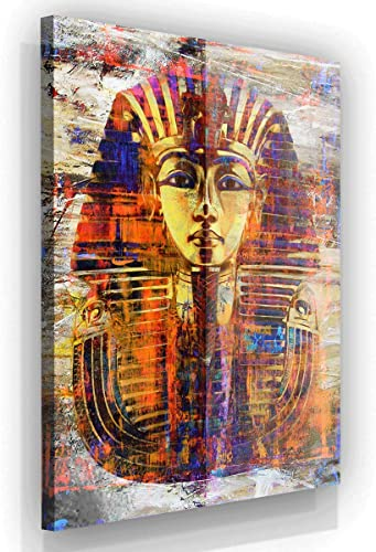 King Tut Wall Art Canvas Print Pharaoh Mask Ancient Egypt Art Egyptian Prints Home Decor Pop Art Office Decor Egyptian Gift 48″ x 36″