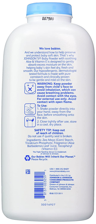 Johnsons Baby Powder, Pure Cornstarch, Aloe /& Vitamin E, 22 Ounce /(Pack of 2/) Johnson/'s Baby Powder 38137003059
