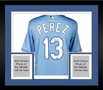 online store dff62 65c5d Framed Salvador Perez Kansas City Royals Autographed Powder ...