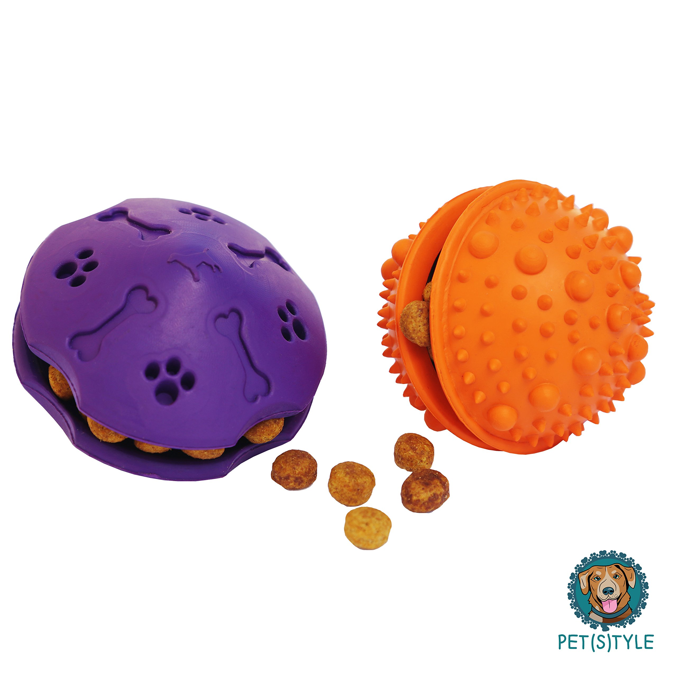 PET(S)TYLE Interactive Dog Treat Toys Pack of 2