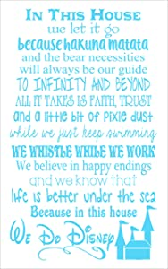 In This House.... We Do Disney, Wall Decals Letters for Cool Room Decor, Ice Blue, 34x20-Inch