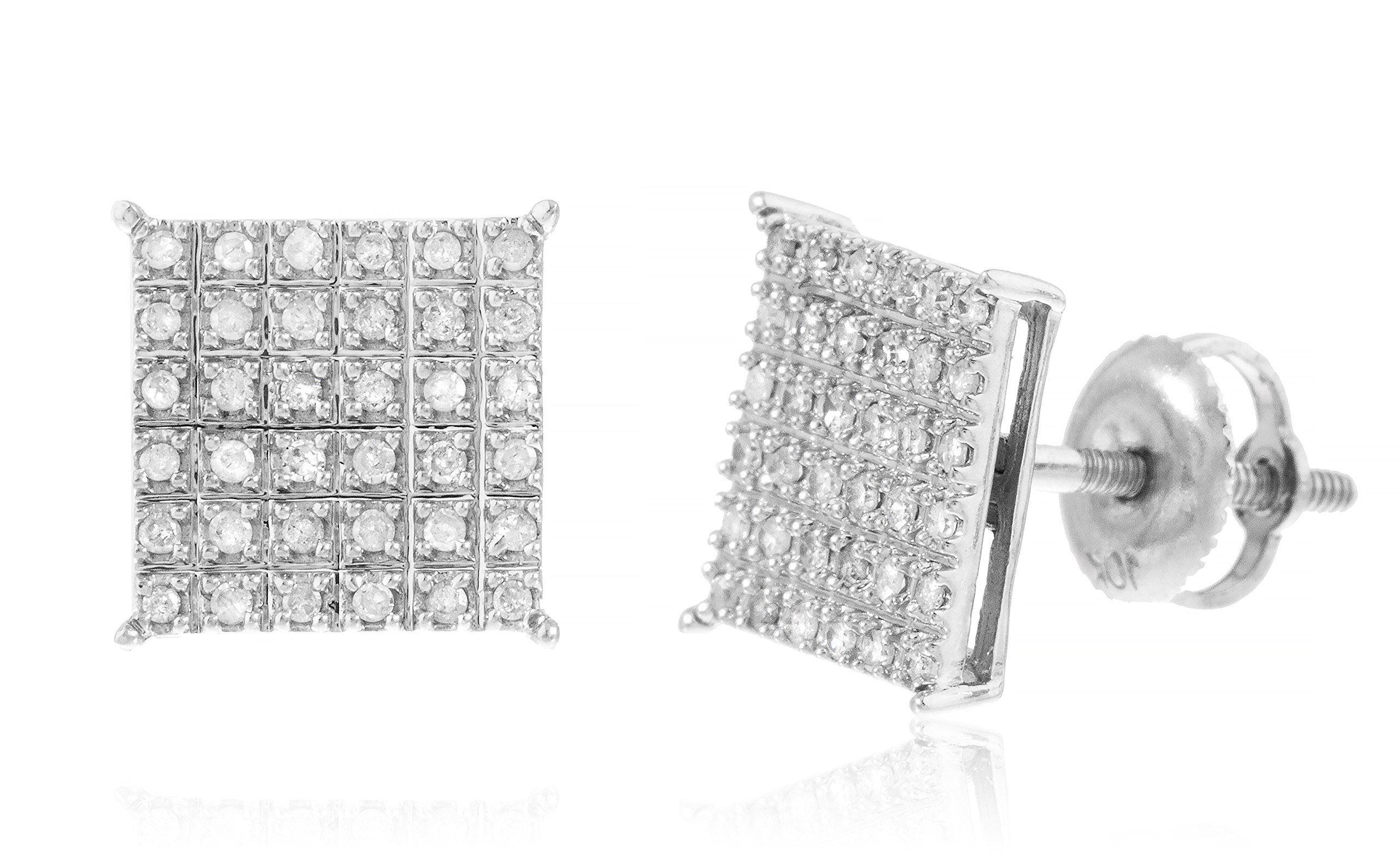 10K Gold .25 Cttw Diamond Square Screw Back Stud Earrings, Yellow or White Available (V-87) (white-gold)
