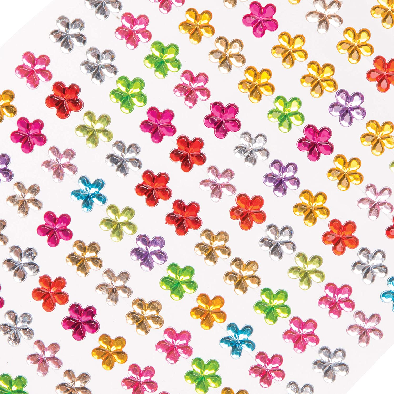 Embellishments for Kids Arts and Crafts Decoration for Mothers Day or Carnival // Mardi Gras Baker Ross Mini Flower Self-Adhesive Gems Pack of 308