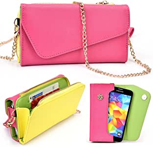 Magenta/Yellow Universal Phone Wallet Case fits Sony Xperia SP HSPA C5302