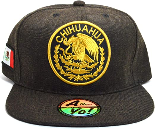 Black Mexican hat Hecho En Mexico Eagle Twill Snapback Flat bill Baseball cap