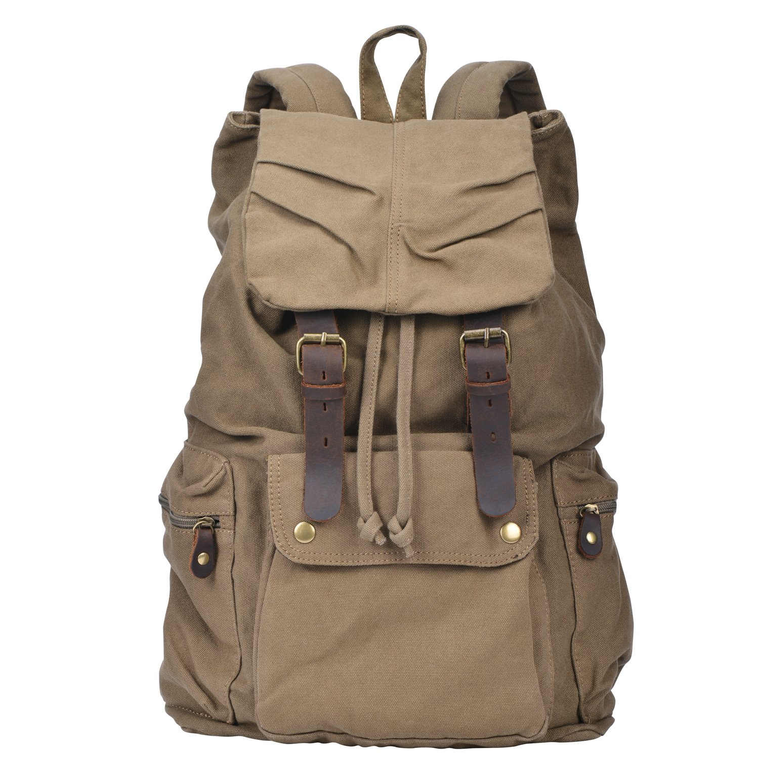 S.C.Cotton Canvas Leather Backpack Rucksack Satchel Bookbag Hiking Bag - Army Green 1769551031
