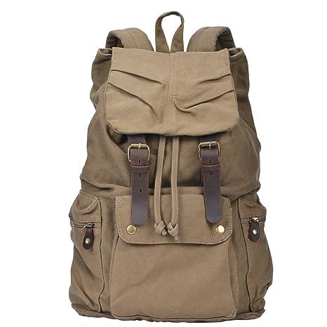 6964a8367421 I-MART Canvas Leather Backpack Rucksack Satchel Bookbag Hiking Bag – Army  Green