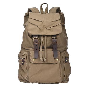 Amazon.com: I-MART Canvas Leather Backpack Rucksack Satchel ...