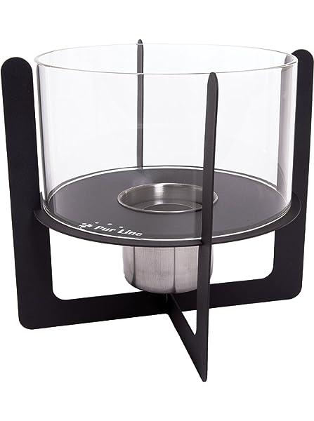 PURLINE SELENE - Biochimenea de mesa con vidrio templado, Negro ...